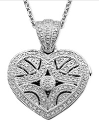 Macy's Sterling Silver Pendant Diamond Heart Locket 1 3 Ct. T.W.