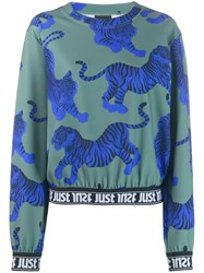 Just Cavalli Tiger Pattern Sweatshirt Green