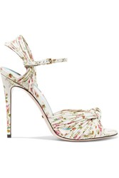 Gucci Knotted Floral Print Leather Sandals White