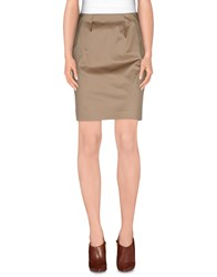 D.Exterior Skirts Knee Length Skirts Women Khaki