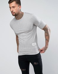 Religion Muscle Fit T Shirt With Layered Arm Detail Grey