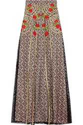 Temperley London Antila Embroidered Cotton Blend Lace Maxi Skirt Black