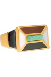 Paula Mendoza Hexagon Gold Plated Enamel And Emerald Ring