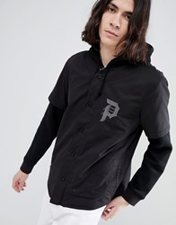Primitive Two Fer Baseball Layered Hoodie In Black
