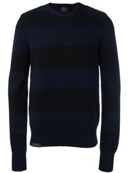 Massimo Piombo Mp Striped Shetland Wool Sweater Black