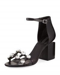 Alexander Wang Abby Dome Studded Tilt Heel City Sandal Black