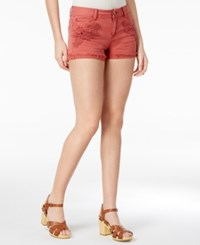 Vanilla Star Juniors' Crochet Trim Cuffed Denim Shorts Terra Cota
