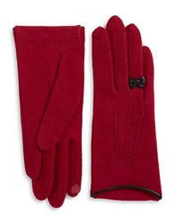 Portolano Leather Bow Accented Wool And Cashmere Blend Touch Gloves Dark Red