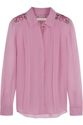 Matthew Williamson Embroidered Silk Georgette Shirt Pink