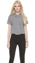 Wayf Cropped Gingham Button Down Blouse Black White Gingham