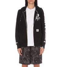 Aape By A Bathing Ape Logo Print Zip Up Jersey Hoody Black