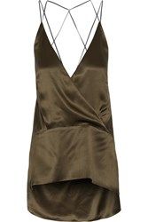 Petar Petrov Wrap Effect Silk Satin Top Army Green