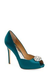 Women's Badgley Mischka 'Pearla' Pump Teal Satin