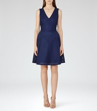 Reiss Topaz Womens Textured Fit And Flare Dress In Blue