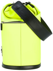 Msgm Neon Bucket Bag Women Cotton Calf Leather Polyester Polyurethane One Size Yellow Orange