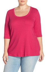Plus Size Women's Sejour Elbow Sleeve Scoop Neck Tee Red Cerise