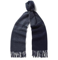 Begg And Co Vigo Fringed Checked Wool Cashmere Blend Scarf Gray