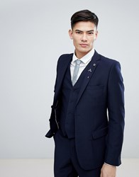 French Connection Birdseye Weave Slim Fit Suit Jacket Navy