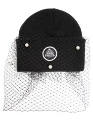 Silver Spoon Attire Beanie Hat With Veil And Bow