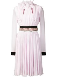 Giambattista Valli Embellished Waist Pleated Dress Pink Purple
