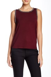 Anne Klein Embellished Trim Tank Red
