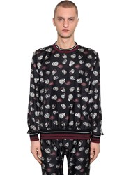Dolce And Gabbana Ring Print Silk Twill Sweatshirt Black