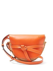 Loewe Gate Small Leather And Raffia Cross Body Bag Orange Multi