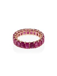 Shay 18Kt Gold Eternity Ruby Embellished Ring