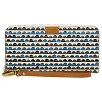 Fossil Emma Large Zip Clutch Purse Blue Print