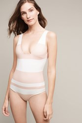 Anthropologie Cali Dreaming Scuba One Piece White