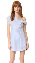 Re Named Oxford Asymmetrical Dress Blue White