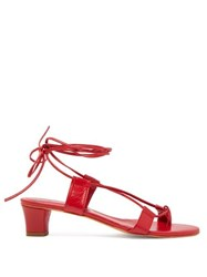 Martiniano Pavone Wrap Tie Leather Sandals Red