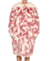 Miu Miu Fox Fur Shawl Collar Coat Pink