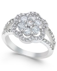 Charter Club Silver Tone Pave Flower Ring Only At Macy's
