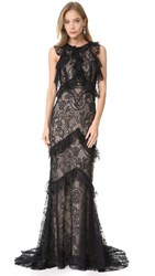 Monique Lhuillier Sleeveless Ruffle Gown Noir