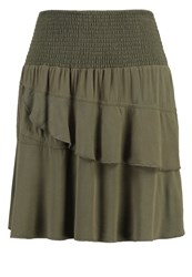 Cream Mitzi Pleated Skirt Army Green