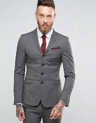 Asos Super Skinny Four Button Suit Jacket In Charcoal Multi