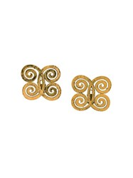 Chanel Vintage Swirl Clip On Earrings Metallic