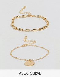 Asos Curve Pack Of 2 Chain Link And Disc Bracelets Gold