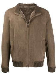 Salvatore Santoro Shearling Lined Bomber Jacket Brown