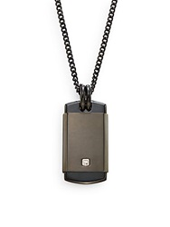 Lotus 0.01 Tcw Diamond And Stainless Steel Pendant Necklace Black