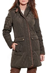 Lauren Ralph Lauren Women's Diamond Quilted Coat With Faux Leather Trim Dark Moss