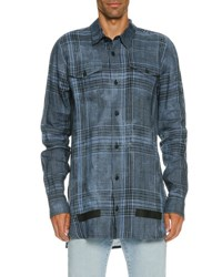 Off White Faded Plaid Linen Button Front Shirt Blue