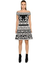 Alexander Mcqueen Off The Shoulder Flared Jacquard Dress