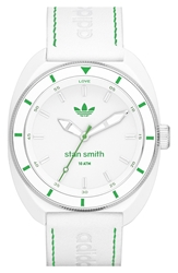 Adidas 'Stan Smith' Leather Strap Watch 42Mm White Green