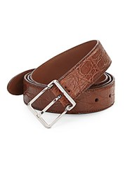 Brunello Cucinelli Embossed Leather Belt Warm Brown