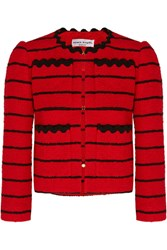 Sonia Rykiel Striped Cotton Blend Boucle Tweed Jacket Red