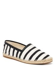 Dolce And Gabbana Striped Canvas Espadrilles Black White