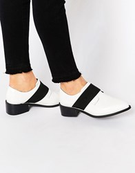 Asos Mix It Up Elastic Detail Pointed Flat Shoes White