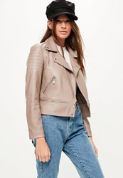 Missguided Brown Faux Leather Cropped Biker Jacket